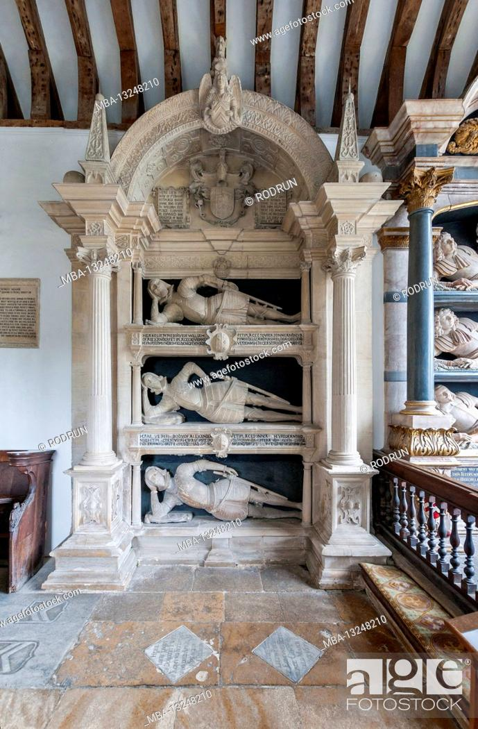 Stock Photo: Great Britain, Oxfordshire, Swinbrook near Burford, Church of St. Mary the Virgin, Fettiplace family monuments 17th century.