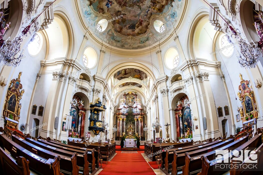 Stock Photo: interior of pilgrimage church, Maria Dreieichen, Lower Austria, Austria.