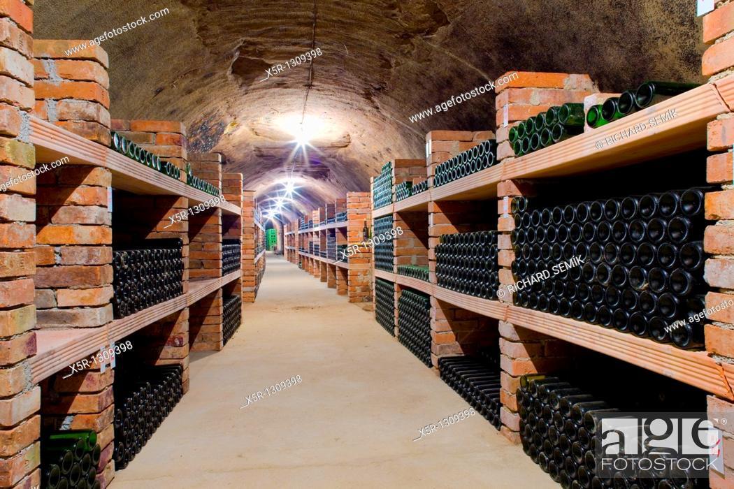 Stock Photo: wine archive, Jan Vanek Winery, Chvalovice, Czech Republic.
