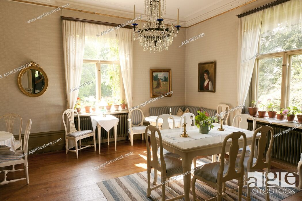Stock Photo: Odensnäs. Turn of the century house with preserved interior in Ängelsberg. Completed 1896. Architect: Isak Gustaf Clason.