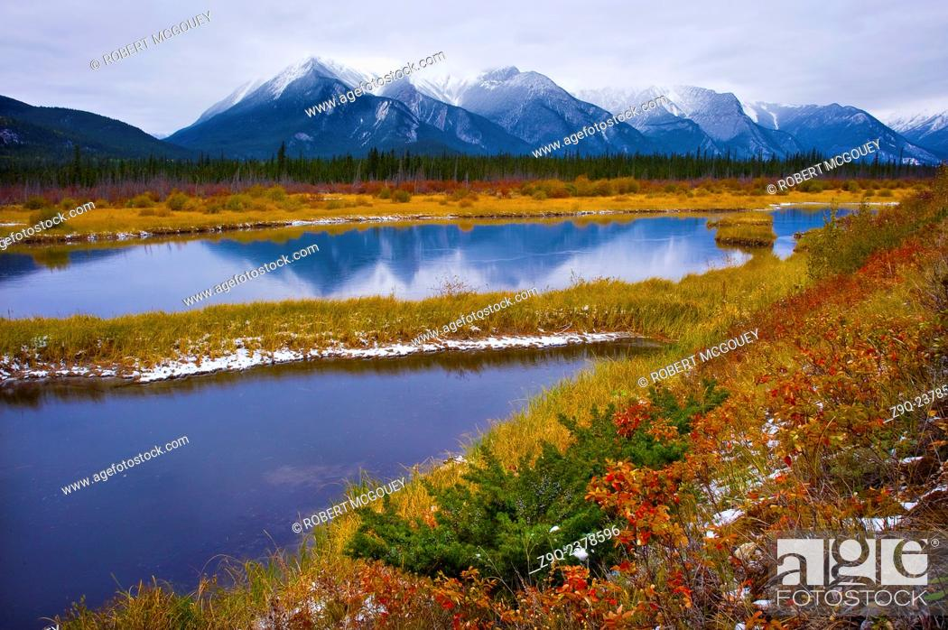 Stock Photo: This mountain landscape was captured in Jasper National Park one overcast fall morning.