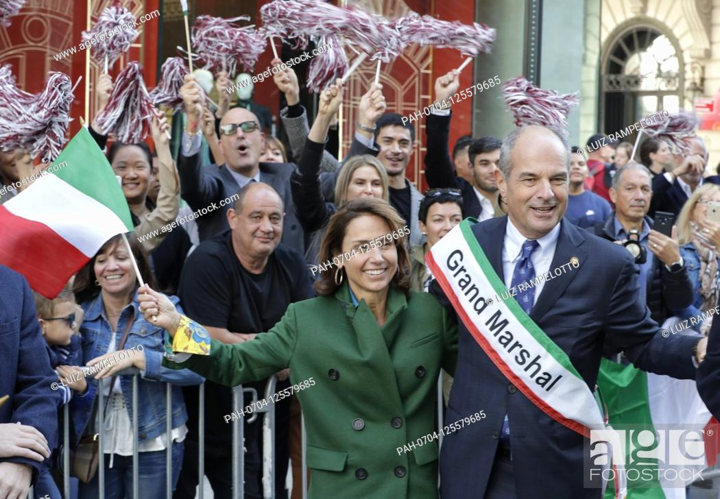 Stock Photo: Fifth Avenue, New York, USA, October 15, 2019 - Grand Marshal Massimo Ferragamo Along with Thousands of Peoples Participated the 2019 Columbus Day Parade in New.
