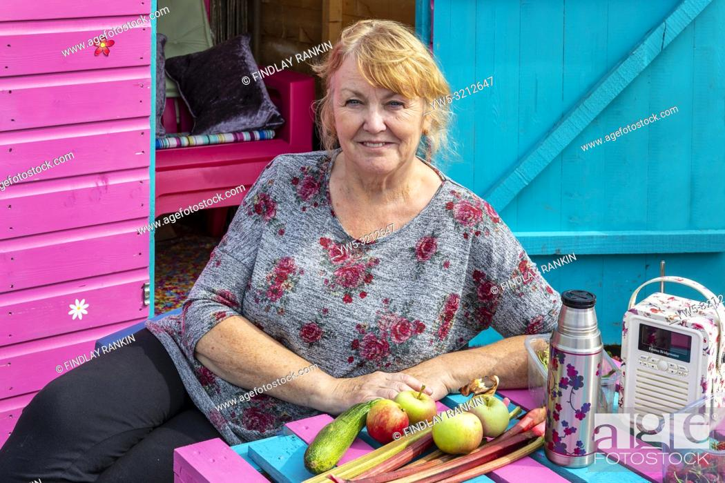 Stock Photo: Doreen Kerr, Plot 78, Eglinton Growers Allotments, Kilwinning, Ayrshire, Scotland, UK.