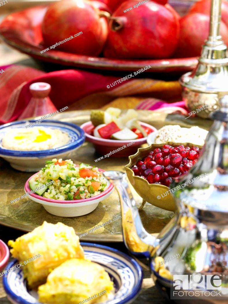 Stock Photo: Mezze appetisers from Arabia.