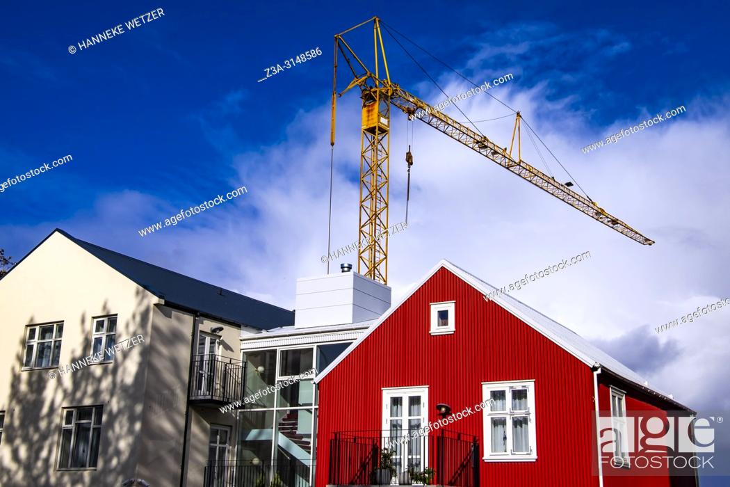 Stock Photo: Construction site in Reykjavik, Iceland.
