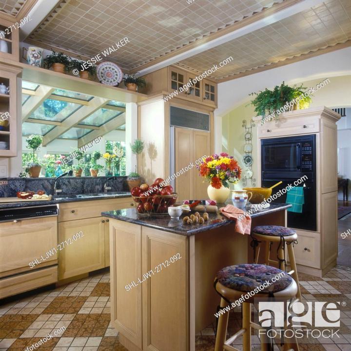 Kitchens Light Color Wood Cabinets Tan Ceramic Tile