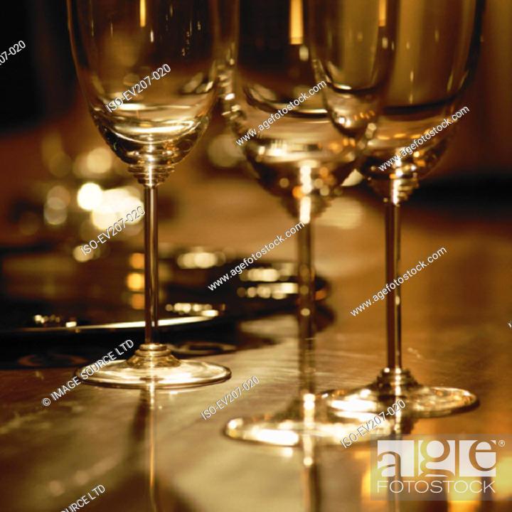Stock Photo: Wine glasses.