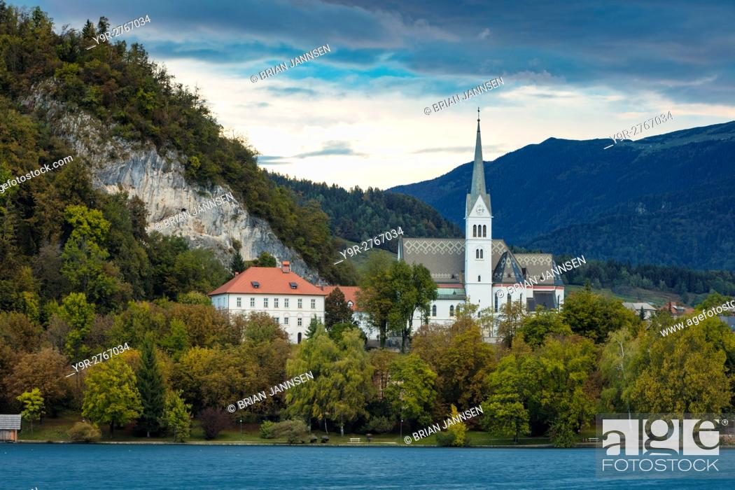 Stock Photo: Evening over St Martin's Parish Church along Lake Bled, Bled, Upper Carniola, Slovenia.