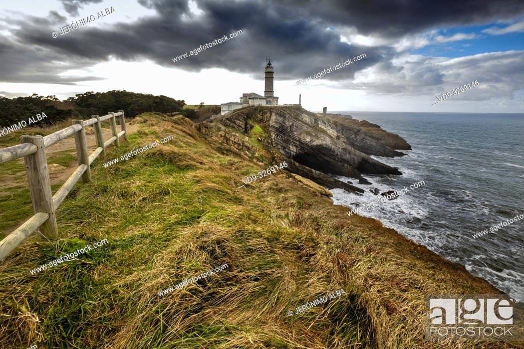 Stock Photo: Panoramic view. Viewpoint Lighthouse of Cabo Mayor. Santander coast and Cantabrian Sea. Cantabria, Spain. Europe.
