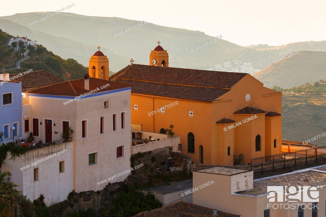 Stock Photo: View of Ioulida village on Kea island in Greece. .