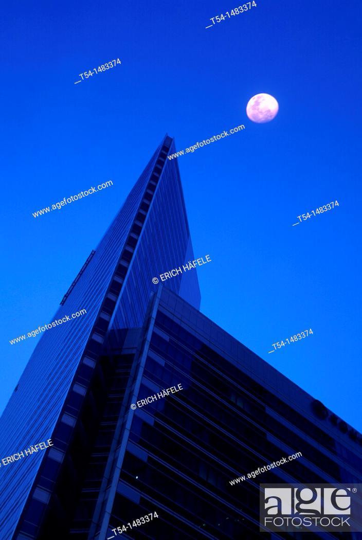 Stock Photo: Bank of China Building/Bangkok on a moon night.