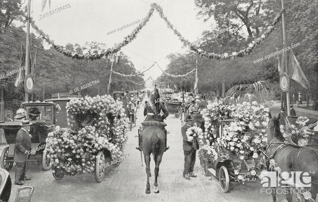 Stock Photo: Carriages and cars parading in Bois de Boulogne during the Flower festival, Paris, June 7, 1907, France, photograph from L'Illustration, No 3355, June 15, 1907.