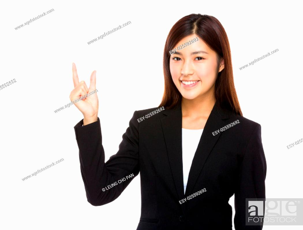 Stock Photo: Businesswoman with finger gap.