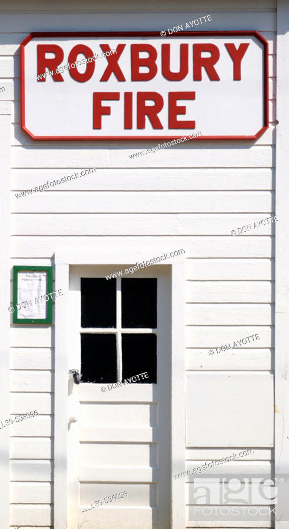 Stock Photo: Old firehouse in the small town of Roxbury. Vermont. U.S.A.