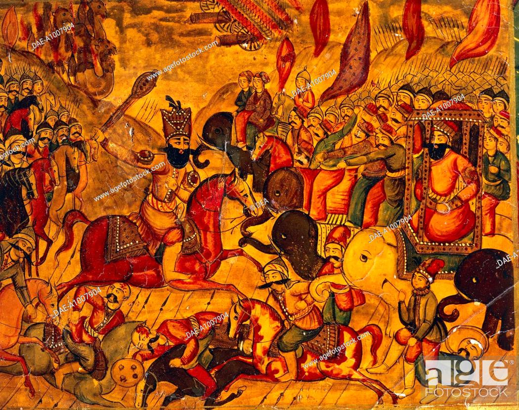 Stock Photo: Indo-Persian Civilization, 18th century. Lac and cardboard cover with a fighting scene.  Florence, Museo Stibbert (Art Museum).