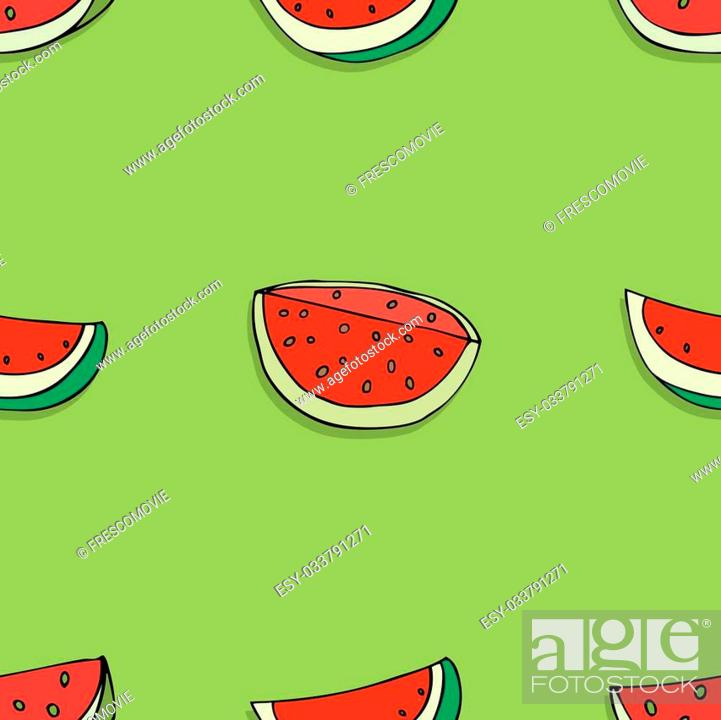 Stock Vector: Vector Seamless Pattern of Sketch Fruits with shadow.