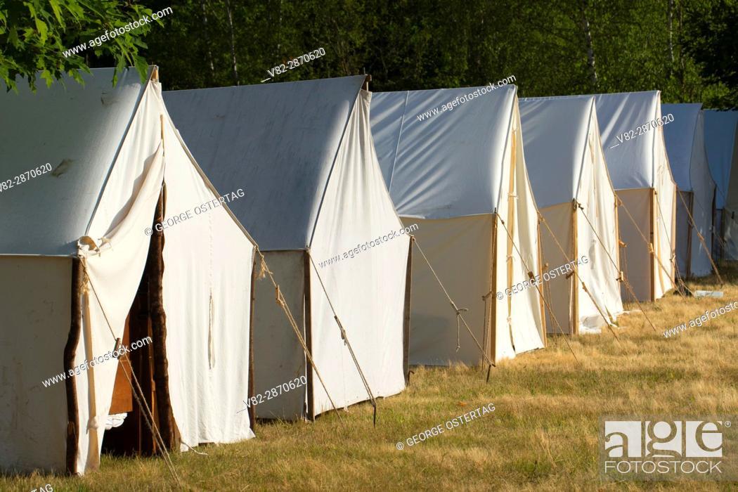 Stock Photo: Camp tents, Civil War Re-enactment, Willamette Mission State Park, Oregon.