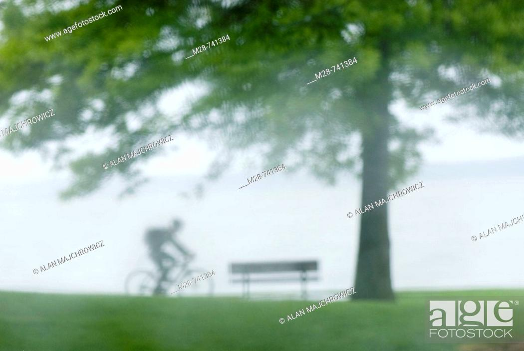 Stock Photo: Bicyclist riding through waterfront park in the rain.