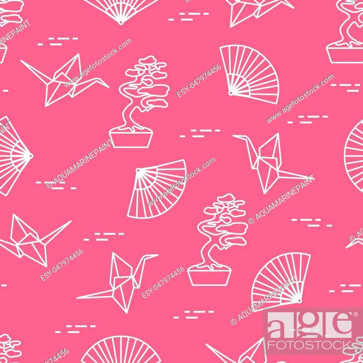 Seamless Pattern With Bonsai Trees Origami Paper Cranes Fans Stock Vector Vector And Low Budget Royalty Free Image Pic Esy 047974456 Agefotostock