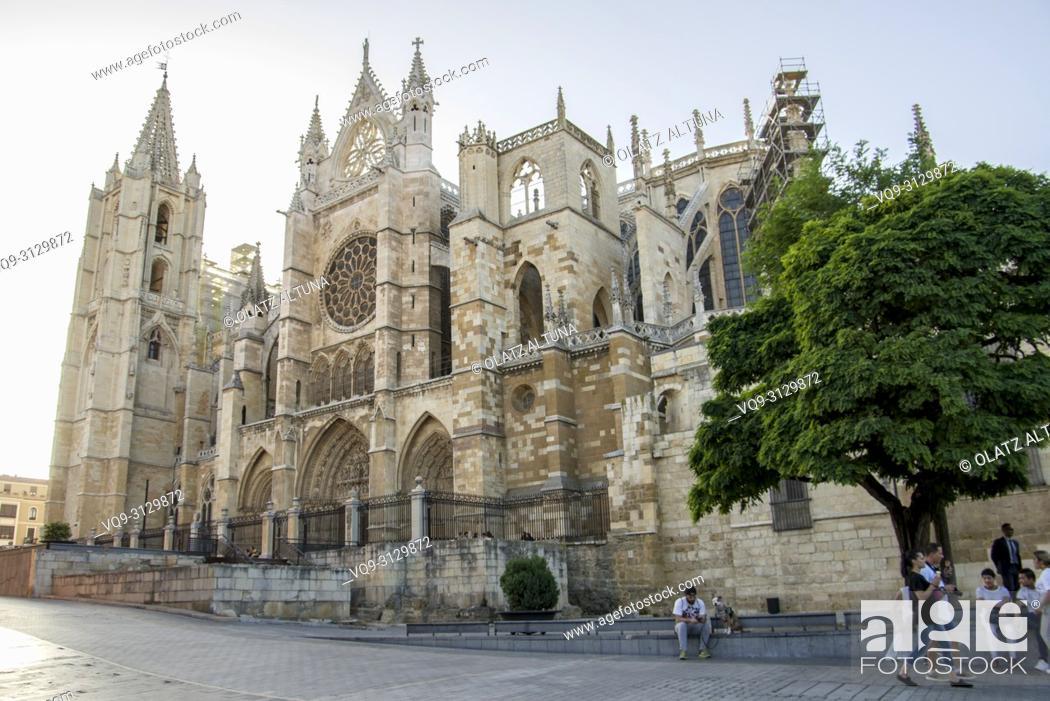 Stock Photo: Gothic cathedral of Santa María de Regla. León. Spain.