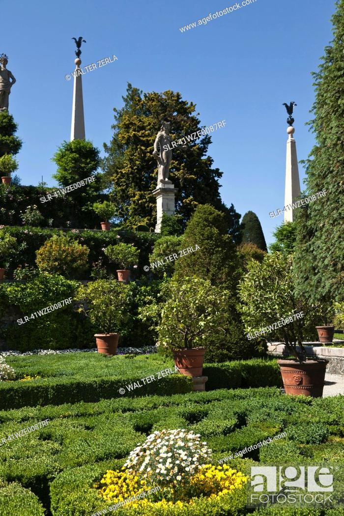 Stock Photo: Shrubs and plants in ornate gardens.