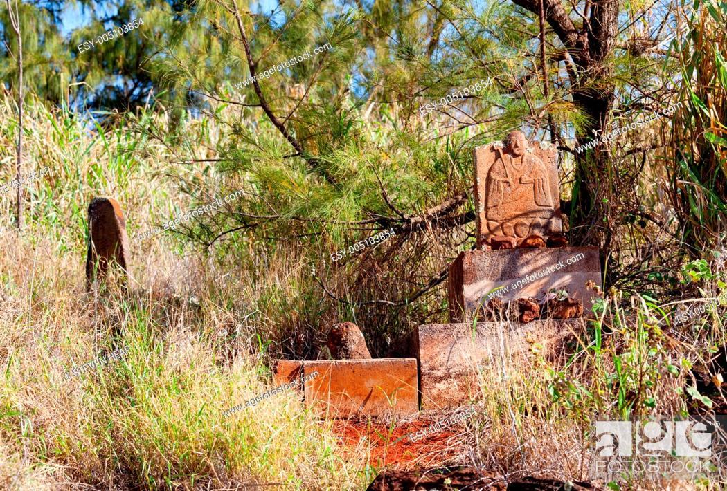 Stock Photo: Abandoned chinese graveyard in Kauai.