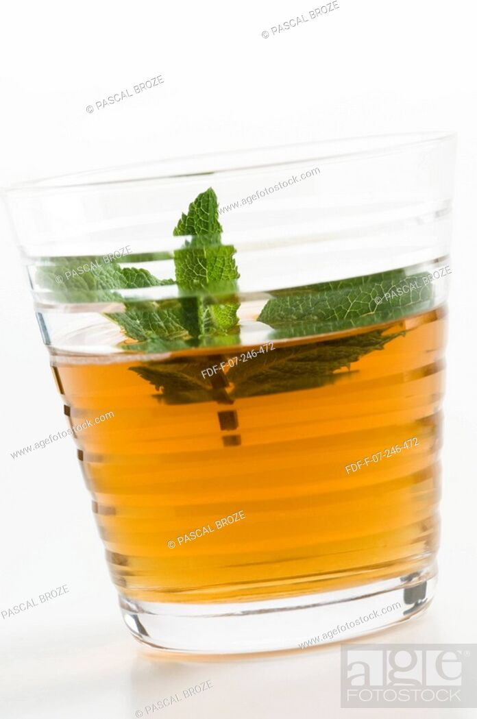 Stock Photo: Close-up of a glass of herbal tea.