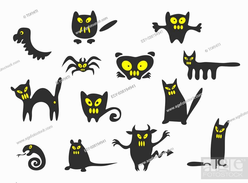 Imagen: Thirteen black Halloween monsters on a white background.