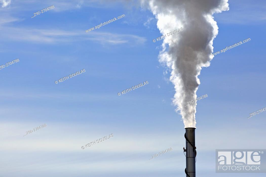 Stock Photo: Emissions from wood pellet plant, Williams Lake, British Columbia.