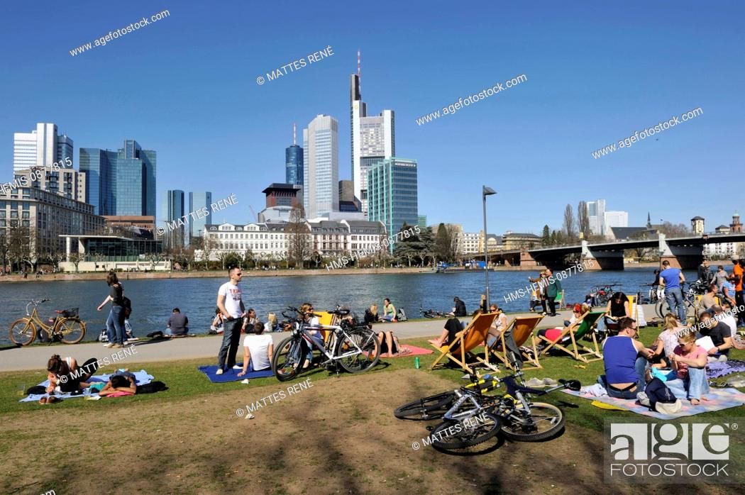 Stock Photo: Germany, Hesse, Frankfurt am Main, riverbanks of Main river and skyline, Main Cafe.
