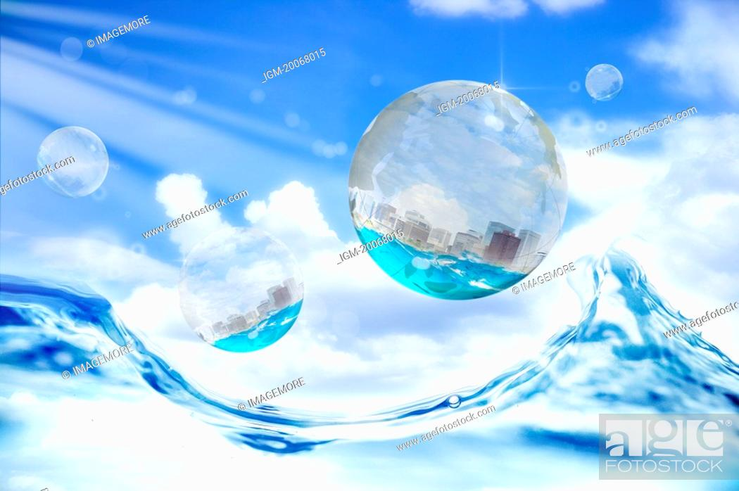 Stock Photo: Lohas, Environmental Conservation, Digitally generated image of drop and wave in the blue sky.