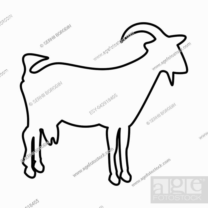 Stock Vector: Goat it is black icon . Flat style.