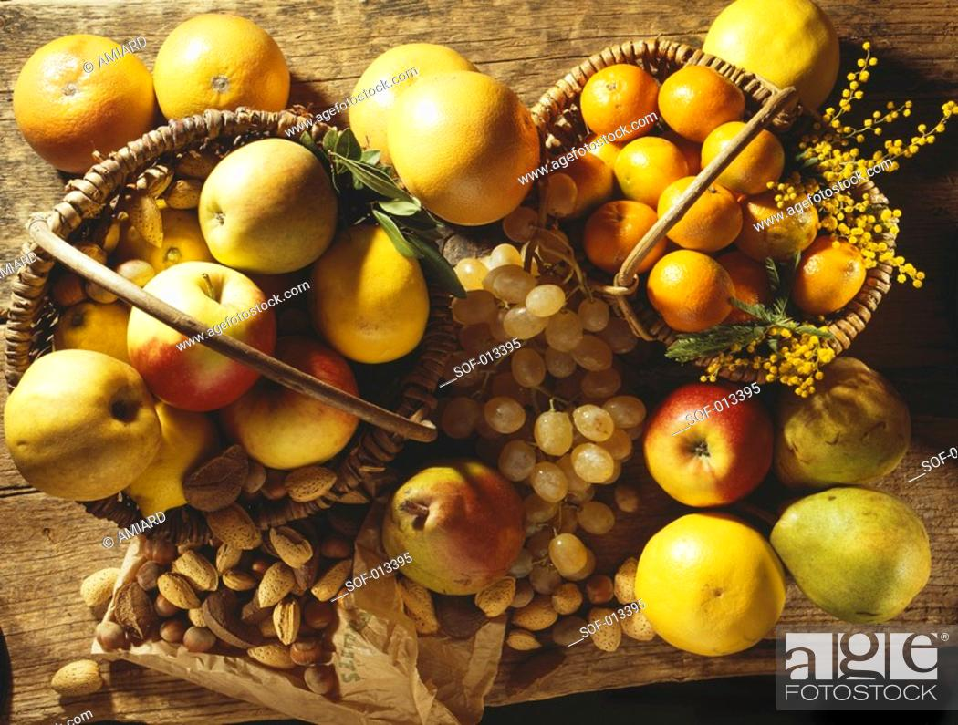 Stock Photo: assorted fruit and dried fruit.