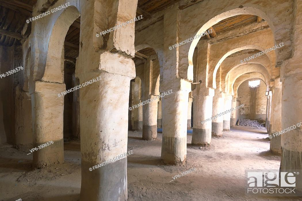 Stock Photo: Interior of a building in the M'Hamid El Ghizlane or Lamhamid Ghozlane region is a small oasis town in the Zagora province of Drâa-Tafilalet in Morocco, Africa.