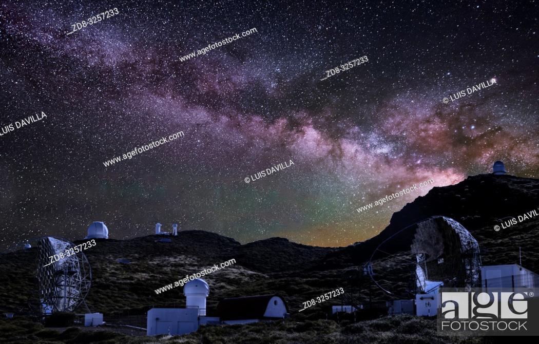 Stock Photo: the Milky Way in roque de los muchachos astronomical observatory. garafia. la palma. canary islands. spain.