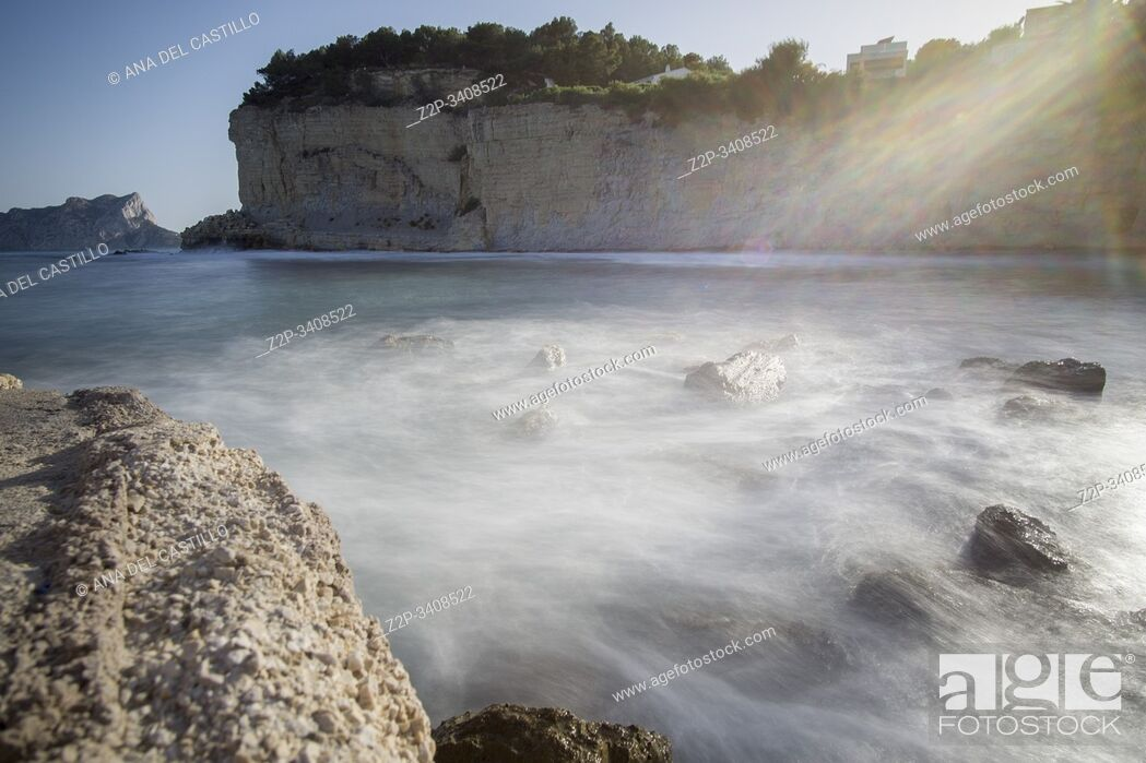 Stock Photo: Calp Ifach penyon from Benissa coast Marina Alta Alicante province Spain. Advocat cove.