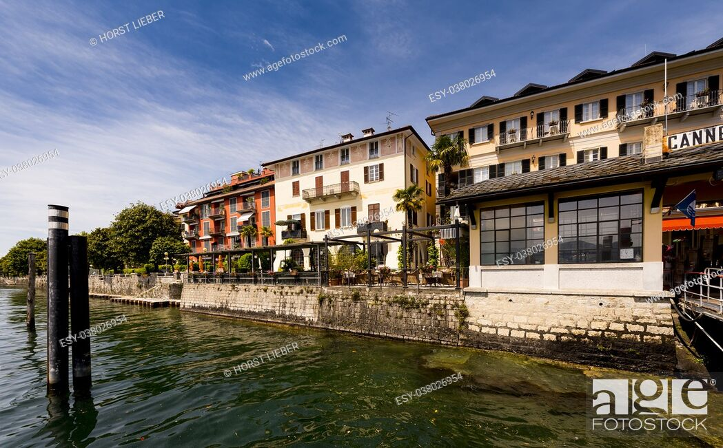 Stock Photo: The pier and houses of Cannero Riviera - Cannero Riviera , Lake Maggiore, Lombardy, Italy, Europe.