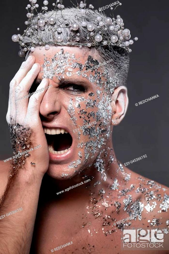 Man Fantasy Portrait Silver Body Art King Of Night Stock Photo Picture And Low Budget Royalty Free Image Pic Esy 045366192 Agefotostock