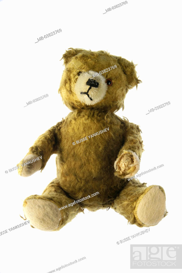 Stock Photo: Teddy bear, old, broken,    Toy, toy, material animal, Kuscheltier, bear, worn out, nostalgically, concept, childhood, childhood memory, memory, sentimentality.