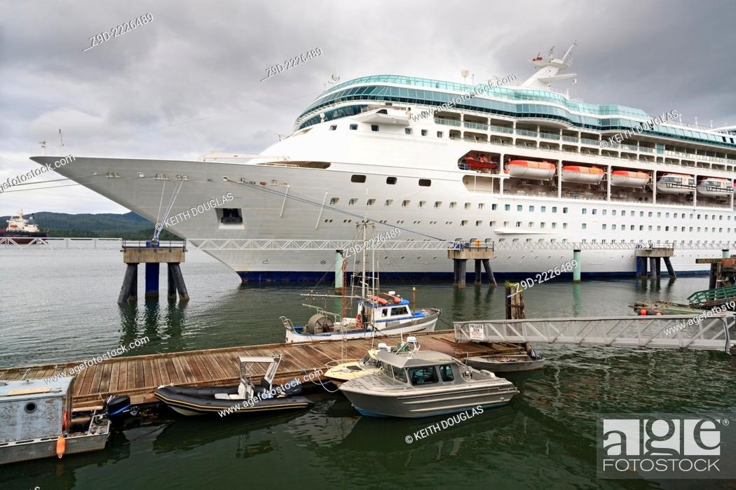 Stock Photo: Cruise ship 'Rhapsody of the Seas' at the cruise ship terminal, Prince Rupert, BC.