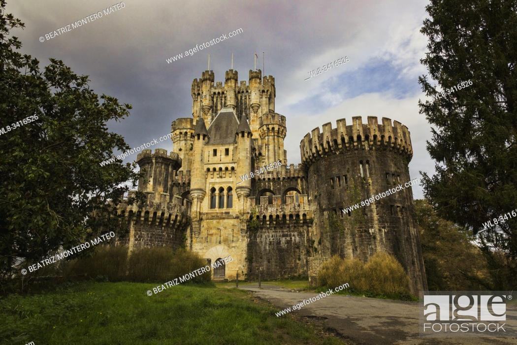 Stock Photo: Butrón castle in Gatica (País Vasco, Spain). Is a medieval castle.