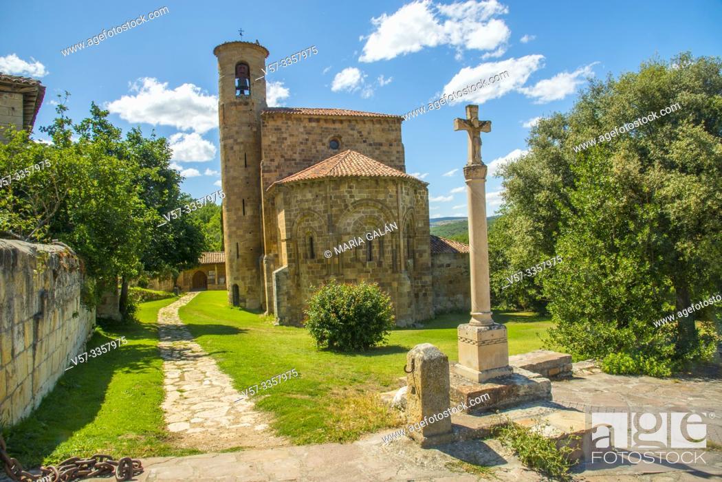 Stock Photo: Romanesque collegiate church. San Martin de Elines, Valderredible, Cantabria, Spain.