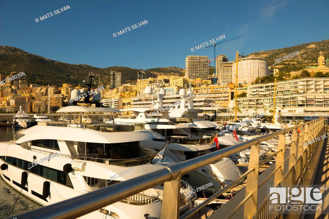 Stock Photo: Port and Cityscape over Monte Carlo in a Sunny Day in Provence-Alpes-Côte d'Azur, Monaco.