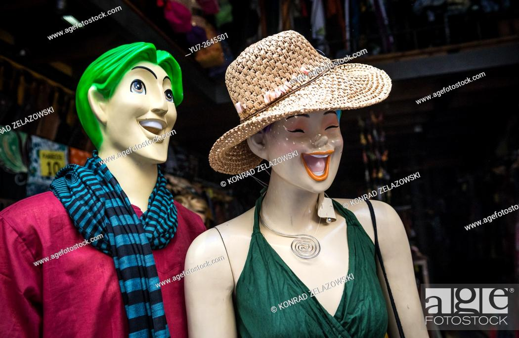 eba3e467f Stock Photo - funny mannequins in front of clothes store in Gothic Quarter,  Ciutat Vella district in Barcelona, Spain.