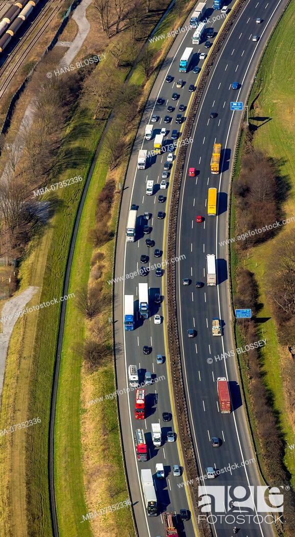 Stock Photo: Autobahn A3 at Oberhausen, traffic jam, Duisburg, Ruhr area, North Rhine-Westphalia, Germany.