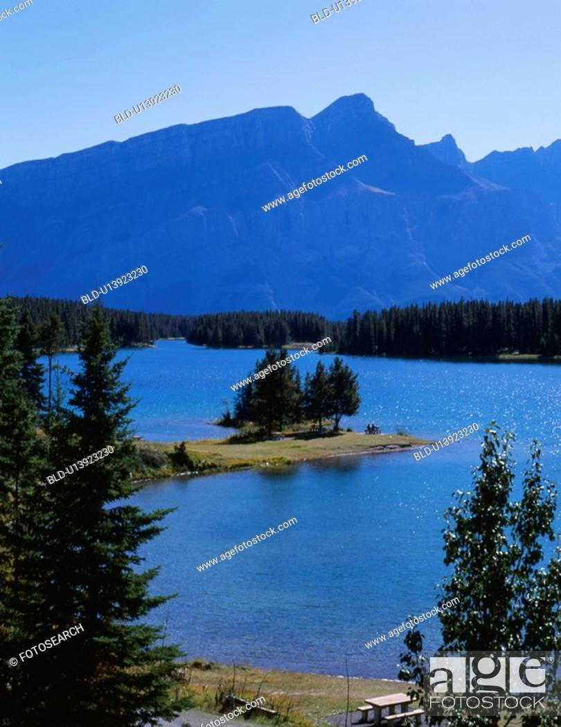 Stock Photo: river, nature, lake, mountain, scene, tree, landscape.