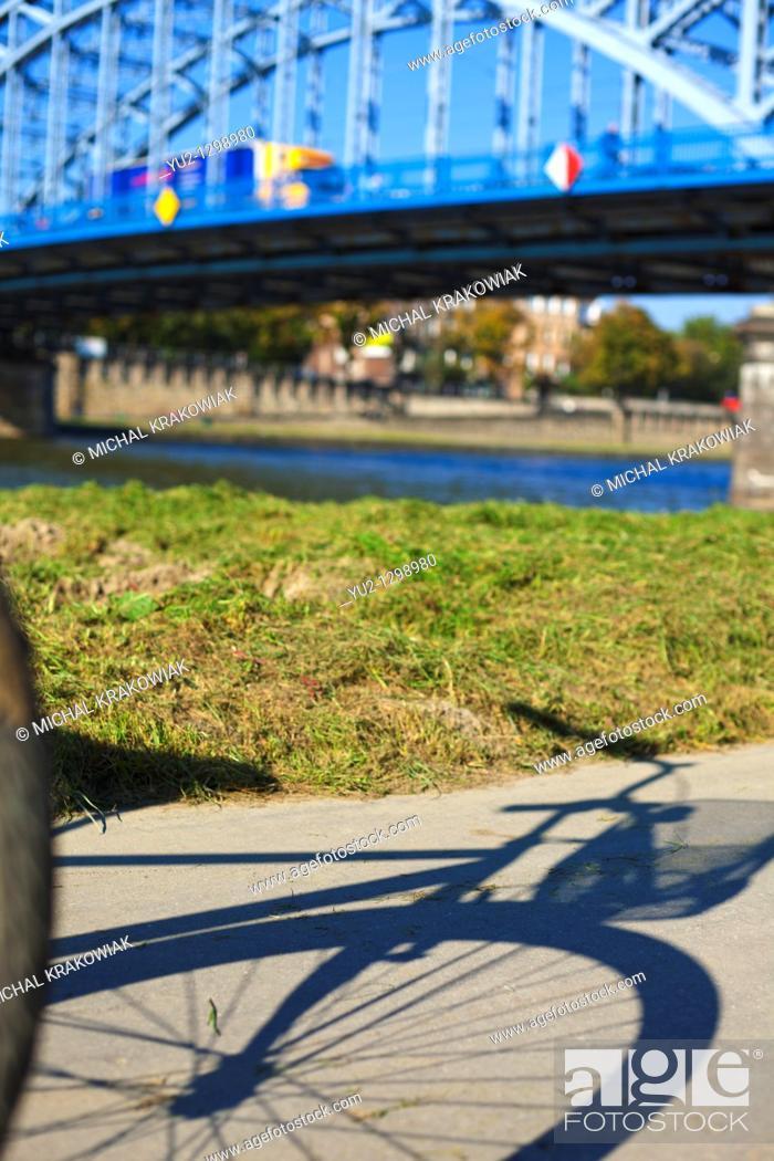 Stock Photo: Walk near Pilsudski Bridge in Krakow, Poland.
