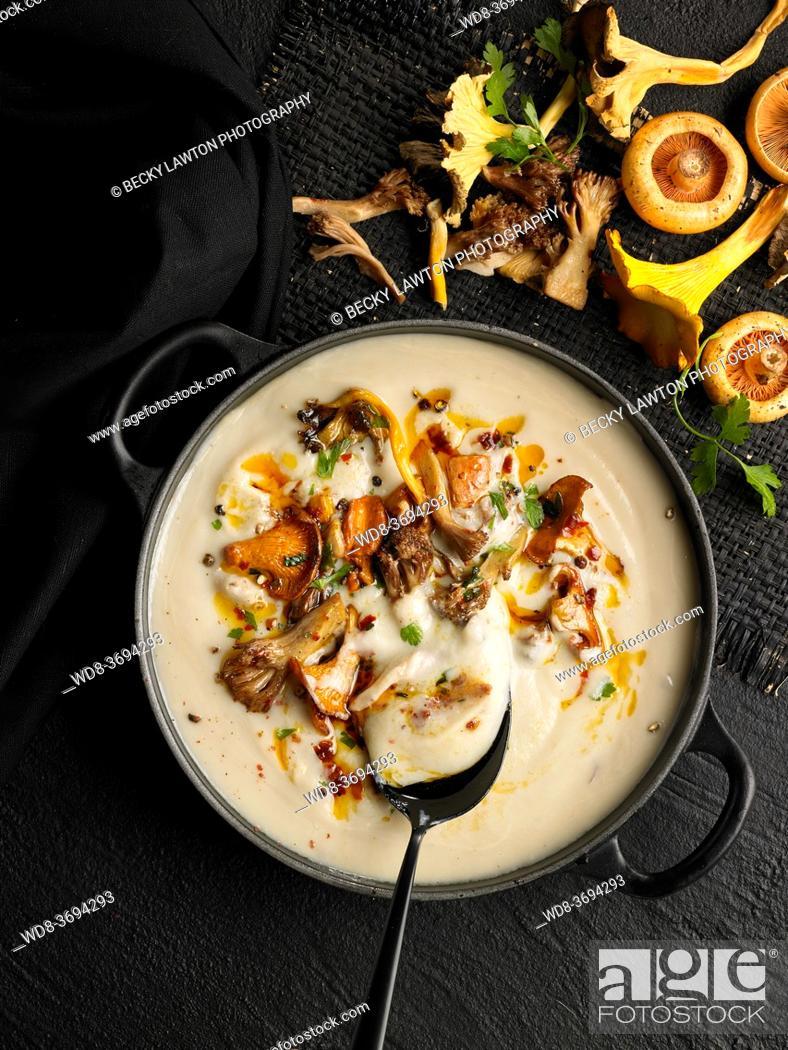 Stock Photo: cauliflower and mushroom cream.