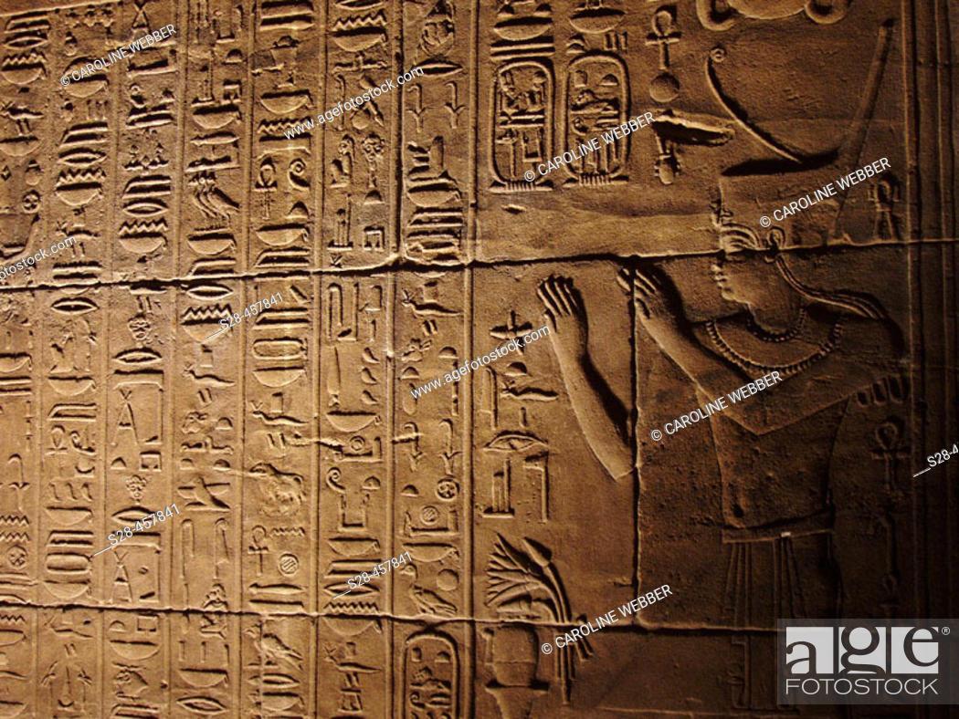 Stock Photo: Hieroglyphs at Philae Temple, Aswan, Egypt.