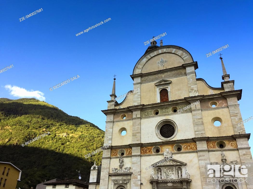 Stock Photo: Italy, Lombardy, Valtellina, Tirano, Sanctuary of the Madonna di Tirano, Detail Facade. .
